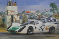 Michael Turner - Original Painting - 1968 Porsche 907 Sebring Jo Siffert winner