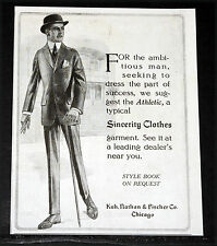 1914 OLD MAGAZINE PRINT AD, KUH, NATHAN & FISCHER, SINCERITY ATHLETIC CLOTHES!