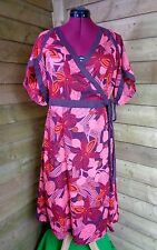 Fat Face Casual Oriental Sleeve Floral Cotton Wrap Dress Red/Pink Large - 16UK