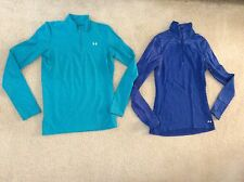 Womens Under Armour Tops Cold Gear Fitted Long Sleeve Sz L Blue/ Turquoise GUC