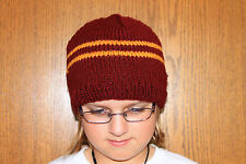 Harry Potter Scarf Gryffindor School Colors  Hand Knit Beanie Gryffiindor Hat
