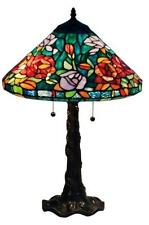 "Tiffany Style Stained Glass Amora Lighting AM1104TL16 Roses Table Lamp 24"" New"