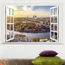 3D Window City Overlook View Removable Wall Sticker Vinyl Art Decal Decor Mural