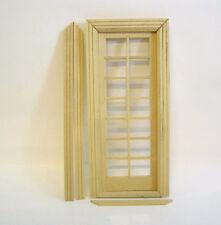 Zimmertür Tür aus Naturholz mit Plexiglas und Leisten Puppenstube 1:12