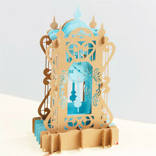 3D Pop Up Greeting Card Antique Clock Birthday Valentine Father Day Love Forever