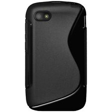 Amzer Black Soft Gel Skin S-Line Wave TPU Case Cover for Blackberry Q5 Q 5