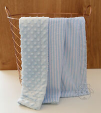 Blue Seersucker Dot Minky Baby Blanket Stroller Pram Crib Shower Gift