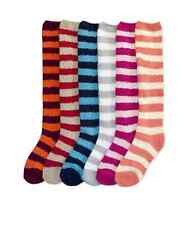 New Women Plush Soft Fuzzy Knee High Socks Winter Warm 9-11 Solid Stripe Slipper