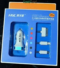 3in1 High quality Car charger for iphone4 4s 5 5s 6 plus android