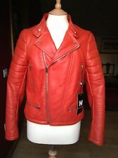 Joseph Ladies Burnt Orange Leather Perfecto Biker Jacket Size 42 Gorgeous