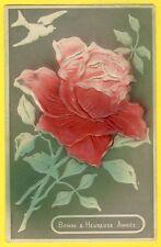 Belle cpa Gaufrée Embossed ROSE Bonne Année de Marie FEYRIOL à son Oncle MOTTIER