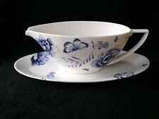 WEDGWOOD JASPER CONRAN BLUE BUTTERFLY SAUCE GRAVY BOAT AND STAND NEW G1 BESTS