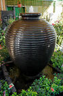 GRC Large Outdoor Garden Patio Water Feature Cyprus Urn Fountain Charcoal Black