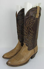 VTG Mens Brahma Cowboy Western boots two tone Exotic Shark skin leather 9.5 D