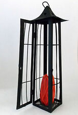 PILAR CANDLE HOLDER WROUGHT IRON LANTERN ORIENTAL STYLE 7 X 7 X 22""