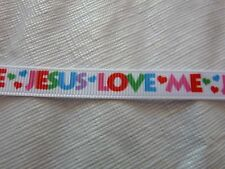 "Lot of 3/8"" Jesus Love Me Grosgrain Ribbon Each Lot is 2Yds"
