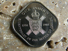 ONE POUND COIN -1781 BATTLE OF JERSEY  £1 COIN- 1981  * SQUARE £1 *  UNC