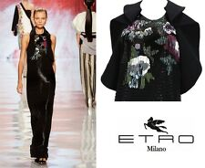 $9300 NEW ETRO RUNWAY FULLY BEADED BLACK GOWN 44