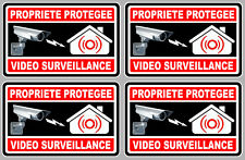 4 X VIDEO SURVEILLANCE PROPRIETE ALARME CAMERA 10cm AUTOCOLLANT STICKER (VA050)