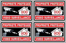 4 X VIDEO SURVEILLANCE PROPRIETE ALARME CAMERA 100mm AUTOCOLLANT STICKER (VA050)