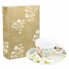 12pc Calla Lily Espresso Cup & Saucer Coffee Set Porcelain Ceramic Gift Box New