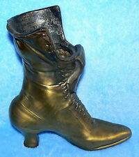 BOOT VASE BRASS AND POT METAL OLD LADY SHOE