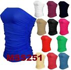 Ladies New Plain Strapless Sleeveless Ruched Boob Tube Womens Bandeau Top 8-14