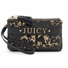 NEW JC Juicy Couture Gold Black Sequin Bling Wristlet Clutch Purse