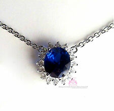 Beauty for Ashes Princess Wedding Engagement Oval Sapphire CZ Celebrity Necklace