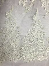 Ivory French Corded Flowers Embroider On A Design Lace Fabric - Yard