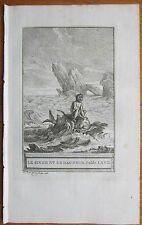 J. de la Fontaine: Fable Original Engraving The Monkey and the Dolphin - 1786