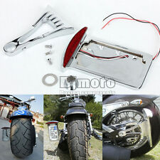 Chrome Side Mount License Plate LED Tail Brake Light For Harley Customs Chopper