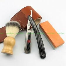 Shaving Straight Razor Gold Dollar 208 + 400/1500# Stone + Nylon Brush + Strop
