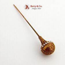 Ornate Dome Head Stick Pin Seed Pearls 14K Gold 1890