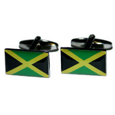 Green, Yellow & Black Jamaica Flag Cufflinks With Gift Pouch Jamaican Flags