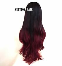 Gradual change Colour Full Wig Burgundy Layered Straight Long Wig 9077-1b/118