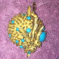 Vintage EMMONS signed gold SEA URCHIN starfish DOME Turquoise stone PIN brooch