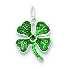 .925 Sterling Silver Enameled Four Leaf Clover with Green Glass Stone Charm