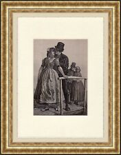 Antique woodcut print :Zeeland Holland / couple Courtship costumes 1875 matted