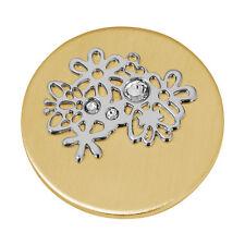 Quoins QMB-31-G large Foral Explsion Münzen ip vergoldet mit weißen Steinen neu