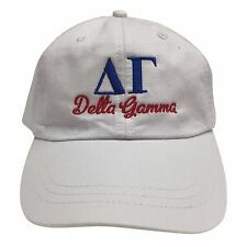 Delta Gamma (S) White Hat with Blue/Red Thread Baseball Hat