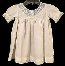 Antique Vintage Baby Doll Child Toddler Handmade White Cotton Dress Crochet Lace