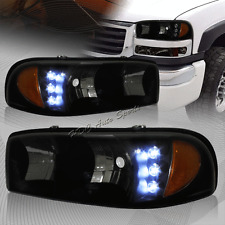 For 2000-2006 GMC Yukon XL 1500 2500 LED Smoke Lens Headlights W/Amber Reflector