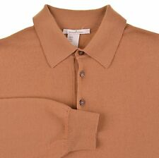 Ermenegildo Zegna Made in ITALY Tan Brown Wool Polo Collar Pullover Sweater M