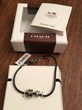 Coach Leather Black Cord Bracelet F99548 NEW IN BOX ~ FREE SHIPPING