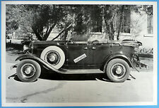 "12 By 18"" Black & White Picture 1932 Ford Phaeton With Side Mount Tire Top Down"