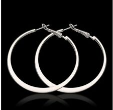 "2"" Sterling Silver Plated Smooth Flat Large Circle Hoop Earrings Jewelry"