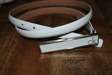 NWT Calvin Klein White  Patent Leather Belt Size Small