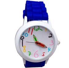 Neu Kinderuhr Lernuhr Blau Kinder Armbanduhr Silikon Uhr Mädchen Jungen