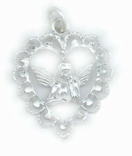 Angel Floating Heart Charm Sterling Silver 925 Fashion Religious Jewelry Gift